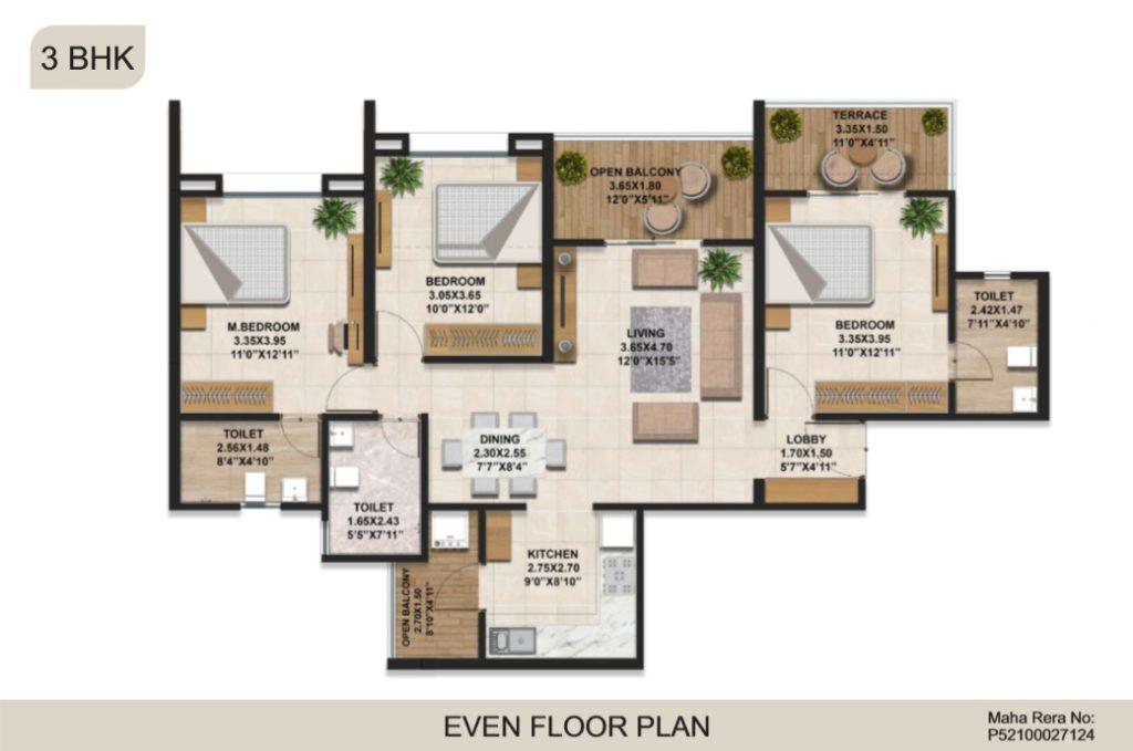 3 bhk even floor plan